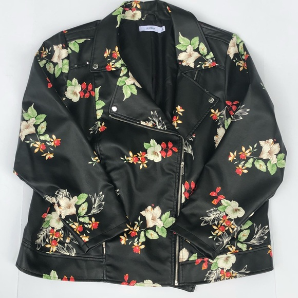 JustFab Jackets & Blazers - Floral Print Moto Jacket